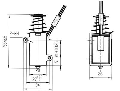该电磁铁内部置有温度开关作为保护装置.